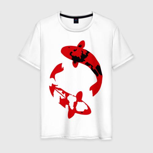 Мужская футболка хлопок Карпы кои (koi fish)