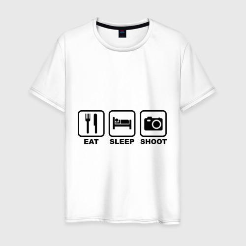 Мужская футболка хлопок Eat Sleep Shoot (Ешь, Спи, Фотографируй)