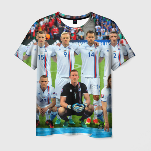 Мужская футболка 3D Сборная Исландии по футболу