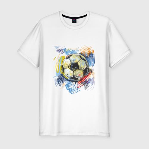 Мужская футболка хлопок Slim Рисованный футбольный мяч